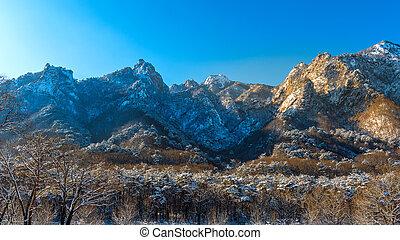 Seoraksan national park in winter, South Korea.