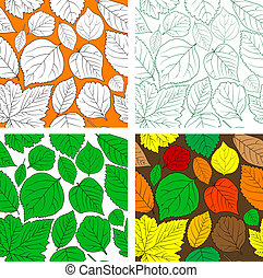 Seot of seamless leaves background