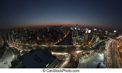 Seoul City 117 - 117) Time lapse of traffic and architecture...
