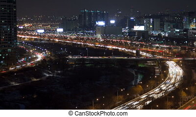 Seoul City 122 - 122) Time lapse of traffic and architecture...