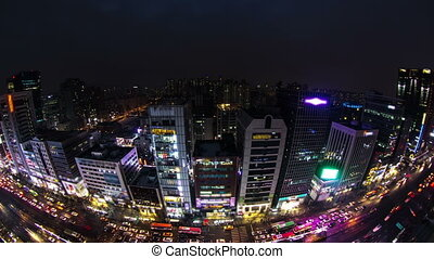 Seoul City 125 - 125) Time lapse of traffic and architecture...