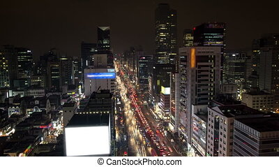 Seoul City 128 - 128) Time lapse of traffic and architecture...