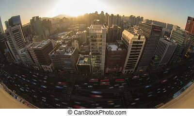 Seoul City 155 - 155) Time lapse of traffic and architecture...