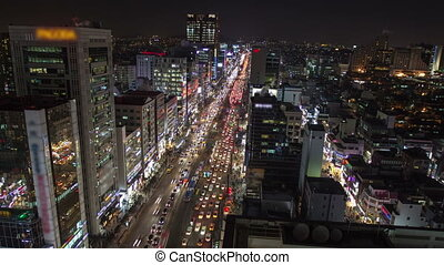 Seoul City 169 - 169) Time lapse of traffic and architecture...