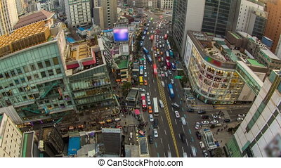 Seoul City 201 - 201) Time lapse of traffic and people in...