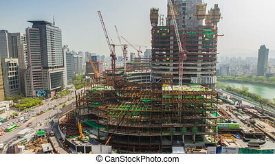 Seoul City 225 - 225) Time lapse in Jamsil of a huge...