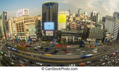 Seoul City 28 - 28) Time lapse of traffic and architecture...