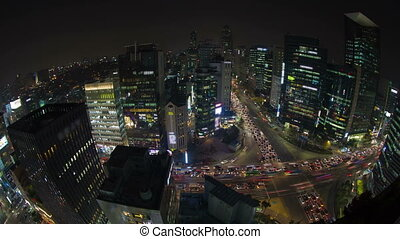 Seoul City 41 - 41) Time lapse of traffic and architecture...