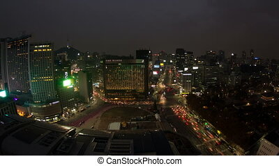 Seoul City 70 - 70) Time lapse of traffic and architecture...