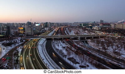 Seoul City 98 - 98) Time lapse of traffic and architecture...