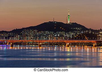Seoul City at Night and Han river in Seoul,South Korea