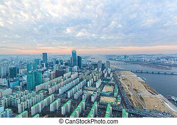 Seoul city at sunset