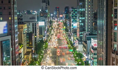 252) Zooming time lapse of traffic and city lights in Gangnam Seoul.