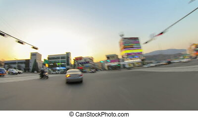 5a) Time lapse of a pov driving time lapse in Seoul, Korea.