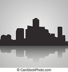 Seoul City skyline black and white silhouette. Vector illustration.