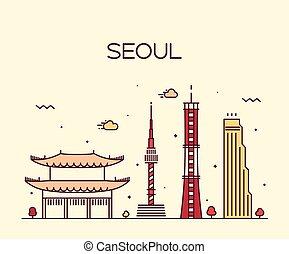 Seoul City skyline Trendy vector line art style - Seoul City...