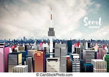 Seoul City Skyline. Vector Illustration.