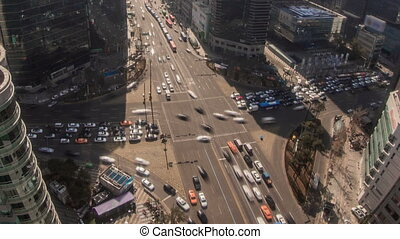 Seoul City Zoom 172 - 172) Zooming time lapse of traffic and...