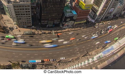 Seoul City Zoom 173 - 173) Zooming time lapse of traffic and...