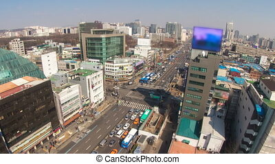 Seoul City Zoom 180 - 180) Zooming time lapse of traffic and...