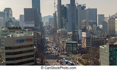 Seoul City Zoom 184 - 184) Zooming time lapse of traffic and...