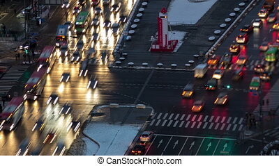 Seoul City Zoom 79 - 79) Zooming time lapse of traffic and...