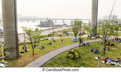 Seoul Downtown Watefront Park 521 - Time lapse of of people...