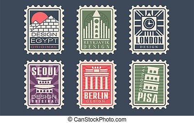 seoul, frimärken, land, vektor, stad, illustration, kollektion, egypten, arkitektonisk, reykjavik, milstolpar, olik, pisa, london, berlin