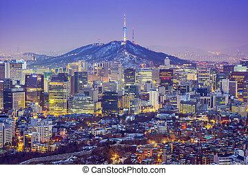 seoul, korea, skyline, süden