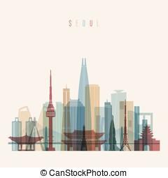 Seoul skyline detailed silhouette.