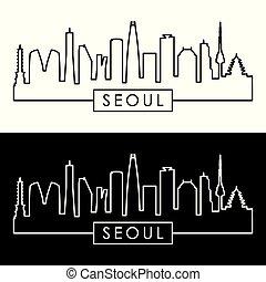 Seoul skyline. Linear style.