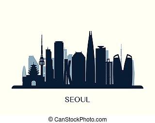 Seoul skyline, monochrome silhouette.