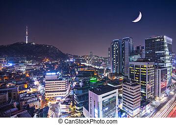 Seoul Skyline - Seoul, South Korea with Namsan Mountain.