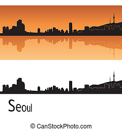 Seoul skyline in orange background in editable vector file
