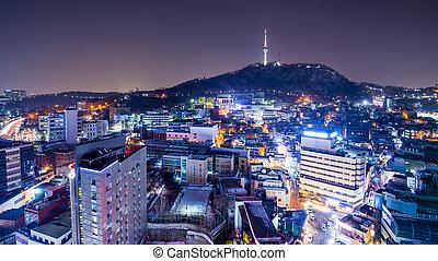 Seoul, South Korea Cityscape - Seoul, South Korea nighttime...
