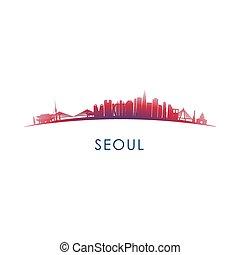 Seoul, South Korea skyline silhouette