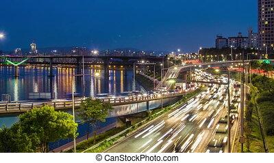 seoul, város, autóút, bridzs, traff