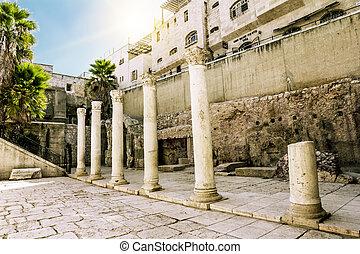 Roman street in the old city of Jerusalem. Israel.