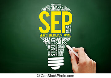SEP (search engine positioning) bulb word cloud