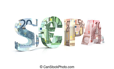 SEPA - Single Euro Payments Area with euro currency - 3d ...