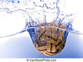 sepak takraw ball dropping in the water