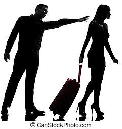 separação, mulher, silueta, fundo, disputa, par, partindo,...