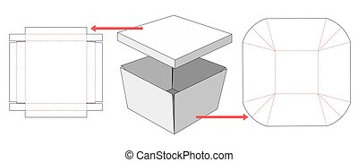 Separable box and lid die cut template