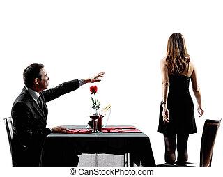 separación, amantes, disputa, siluetas, fechando, parejas, cena