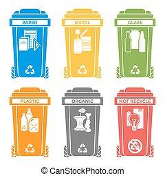 separado, basura, iconos, sólido, etiquetas, colores, vario, cajones