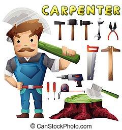 separado, camadas, carpinteiro, jogo, animação, homem