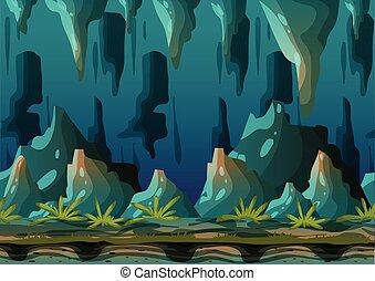 separado, camadas, caverna, vetorial, caricatura, paisagem