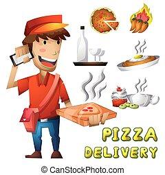 separado, camadas, homem entrega, pizza