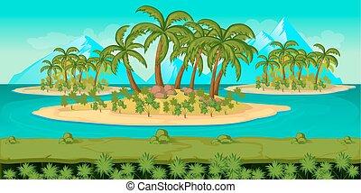 separado, camadas, paisagem, game., seamless, unending, vetorial, fundo, praia, caricatura