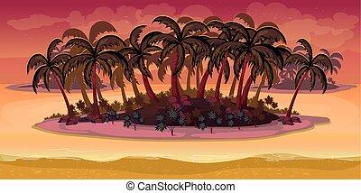 separado, camadas, paisagem, game., seamless, vetorial, fundo, praia, caricatura